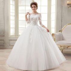 Lace Wedding Dress 2016 Vestido De Noiva Three Quarter Sleeve Boat Neck…