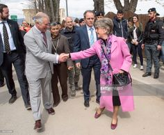 Prince Charles, Prince of Wales greets Fernanda Ciamcaglijoni 71, who lost her home and business during a visit the ruins of Amatrice, the town devastated by a 6.0 magnitude earthquake and where 297 people died last summer, on April 2, 2017 in Italy. Prince Charles visited the Red Zone and was given a tour of the old town by Mayor Sergio Pirozzi. The tour ended at the Operations Centre, a former school building which now houses emergency services and reconstruction personnel.