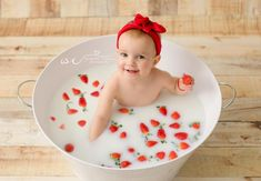 Photo by Whynning Chance Photography.  Love the idea of using strawberries instead of flowers for a milkbath alternative