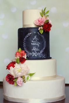 Elegant Chalkboard Wedding Cake - Cake by phennig - CakesDecor
