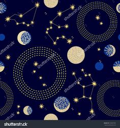 Zodiac sky. Abstract seamless vector pattern with constellations, crescent moon and circlres. 1950s-1960s motifs. Retro textile collection. Golden on dark.