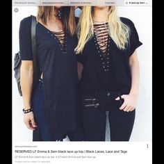 Limited LF lace up shirts Wore once, very cute and stylish. Taking offers LF Tops Tees - Short Sleeve