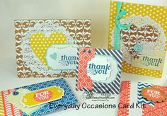 www.PattyStamps.com - LOVE the patterns and embellishments on these Everyday Occasions Card kit cards!!!