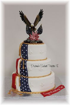 eagle scout cake by Diane's Sweet Treats - Eagle statue for topper Scout Mom, Girl Scouts, Beautiful Cakes, Amazing Cakes, Eagle Scout Cake, Military Cake, Military Food, Eagle Scout Ceremony, Eagle Project