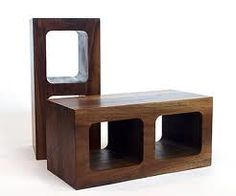 cinder-block like wood coffee table/shelves