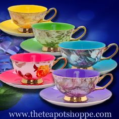 Colorful teacup and saucers