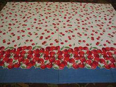 Vintage Feedsack Fabric Blue Border Red Cherries Everywhere Quilting | eBay