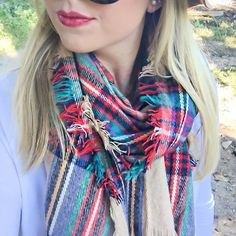 Berry lips + plaid scarf