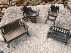 Cast Iron Doll House Furniture Set Of 4: Cradle, Bench Swing, Baby Buggy…