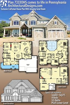 Exclusive Craftsman House Plan With Amazing Great Room 3600 sq ft. Switch the hearth room to an office and increase the dining room and this is sq ft. Switch the hearth room to an office and increase the dining room and this is perfect! Dream House Plans, House Floor Plans, My Dream Home, Future House, The Plan, How To Plan, Casas The Sims 4, Modern Farmhouse Exterior, House Blueprints