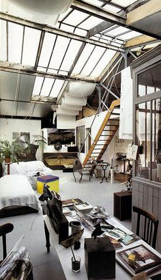 Penthouse, studio, loft, apartment, style, contemporain, vintage, open concept