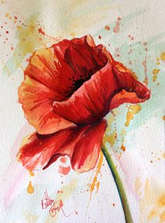 pen and ink watercolor poppies Watercolor Poppy Tattoo, Poppies Tattoo, Watercolor Poppies, Watercolour Painting, Watercolors, Art Floral, Beautiful Paintings, Art Studios, Flower Art