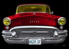 Buick Century Convertible 1955 Serie 60 in black & red front view