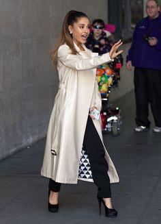 Ariana Grande outside the BBC Radio 1 studios in London on March 30, 2016