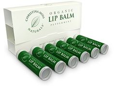 Lip Balm Lip Care Therapy Moisturizer Butter Organic 100 Natural Ingredients Repair Condition Dry Chapped Cracked Lips Made in the USA Christina Moss Naturals 6 Pack Peppermint ** Read more reviews of the product by visiting the link on the image.