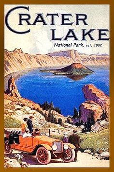 Crater Lake National Park 1 by Olde America Antiques. Crater Lake National Park Oregon from Olde America Antiques Online. Retro Poster, Poster Vintage, Vintage Travel Posters, Vintage Postcards, Vintage Advertisements, Vintage Ads, Montana, Voyage Usa, Crater Lake National Park