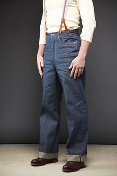 Mens High Waisted Trousers, Mature Mens Fashion, Suspender Jeans, Denim Shirt With Jeans, Vintage Denim, Vintage Man, Vintage Soul, Wide Leg Denim, Denim Outfit