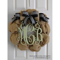 Burlap Wreath with a Black Gingham Bow and Monogram Initials - Preview Your Monogram for Free - Monograms Offered in Many Color via Etsy