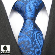 Yibei Ties Fashion Royal Blue Solid Paisley Woven Necktie Mens Neck Tie