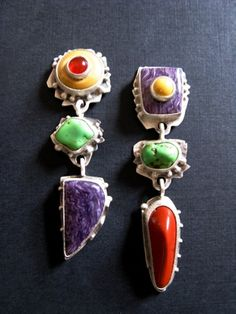 Sterling Silver, Carnelian on Mookaite, Chinese Turquoise, Charoite Earrings. OMG !!! :D <3