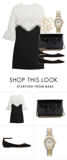 """""""Style #11193"""" by vany-alvarado ❤ liked on Polyvore featuring self-portrait, Chanel, Jimmy Choo and Rolex"""