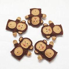 5 Little Monkeys felt finger puppet animal by KRFingerPuppets, $40.00