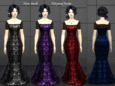 New mesh by me Found in TSR Category 'Sims 4 Female Young Adult Party' The Sims, Maxis, Sims 4 Dresses, Formal Dresses, Sims 4 Clothing, Female Clothing, Sims 4 Update, Mermaid, Clothes For Women