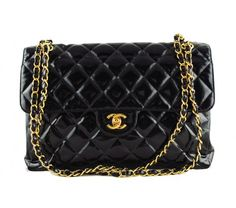 Chanel Black Patent Jumbo Classic 2.55 Two-Sided Shoulder Flap Bag