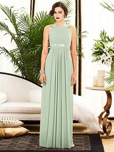 Dessy Collection Style 2889: The Dessy Group  LICHEN, Beautiful soft shade of green for a #Fall wedding