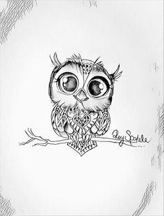 Owl Tattoo Drawings, Pencil Art Drawings, Tattoo Sketches, Animal Drawings, Cute Drawings, Art Sketches, Baby Owl Tattoos, Cute Owl Tattoo, Body Art Tattoos