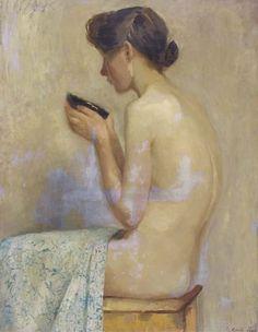 """Drinking from a bowl - Betsy Westendorp-Osieck , 1905 Dutch, 1880–1968 Oil on canvas, 90 x 70 cm. (35.4 x 27.6 in.) """" Johanna Elisabeth (Betsy of Betsie) Westendorp-Osieck (Amsterdam, December 29, 1880 - March 1, 1968) was a Dutch art..."""