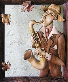 """Саксафонист (уличный музыкант)"" Bois Intarsia, Intarsia Wood Patterns, Intarsia Woodworking, Wood Carving Art, 3d Laser, Wood Creations, Woodworking Techniques, Wooden Art, Mural Art"