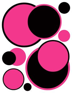 pink and black flower wall decals | ... PINK CIRCLE POLKA DOTS TEEN BABY GIRL NURSERY WALL ART STICKERS DECALS
