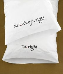 Wedding Gift Pillow Case Set Mr Mrs Always Right Funny Humorous Cute Parody for sale online Wedding Embroidery, Embroidery Applique, Machine Embroidery Designs, Embroidery Ideas, Embroidery Boutique, Custom Embroidery, Mrs Always Right, Mr Right, Embroidered Gifts