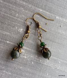Small Earrings – Deep green jasper earrings and vintage bronze – a unique product by lisaastrup on DaWanda
