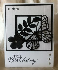 Black & White Butterfly Birthday by JacsStampin - Cards and Paper Crafts at Splitcoaststampers