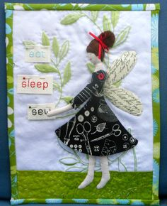 Eat, Sleep, Sew! Angel mini quilt with embroidery.  Made by Janine at Rainbow Hare Quilts (UK)