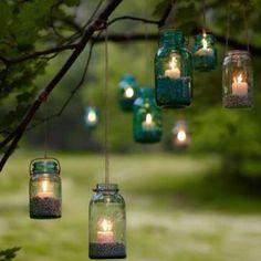 Mason jar lanterns.
