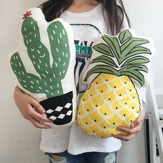 Pineapple Cactus Food Snack Shape Plush Pillow Cushion Home Decor Party FreeShip #Unbranded #ArtDecoStyle