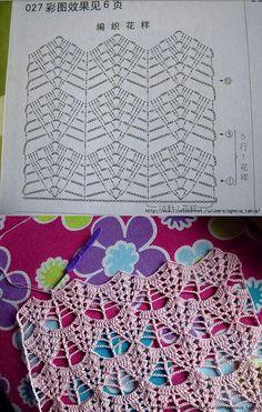 Tours Scarf pattern by Pierrot (Gosyo Co. Crochet Stitches Chart, Crochet Motifs, Filet Crochet, Knit Crochet, Hexagon Crochet Pattern, Crochet Diagram, Stitch Patterns, Knitting Patterns, Crochet Patterns