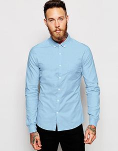 ASOS+Skinny+Oxford+Shirt+in+Blue+with+Long+Sleeves