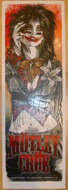 "Motley Crue w/ Kiss - silkscreen concert poster (click image for more detail) Artist: Rhys Cooper Venue: KFC Yum Center Location: Louisville, KY Concert Date: 8/1/2012 Size: 12"" x 36"" Edition: 250; si"