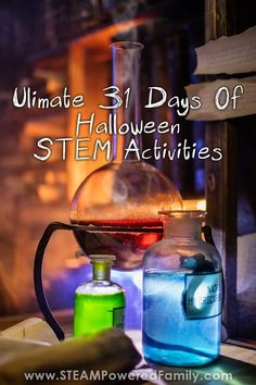 31 Days of Halloween STEM Activities that will keep your kids excited about learning all month long! Embrace Science, Technology, Engineering and Math for the whole month of October. Halloween Science, Halloween Activities For Kids, Science Activities For Kids, Steam Activities, Stem Science, 31 Days Of Halloween, Science Experiments Kids, Halloween Ideas, Math Stem