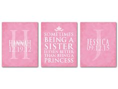 Princess Art Girls Room nursery wall art trio - Personalized Sometimes being a sister is better than being a princess - Mongoram Two sisters by SusanNewberryDesigns on Etsy