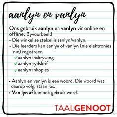 Aanlyn & Vanlyn - Korrekte #Afrikaans #Taalgenoot #taalleer Afrikaans Language, Afrikaanse Quotes, Teaching, Writing, Education, School, Compliments, Afrikaans, Schools