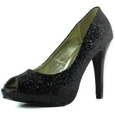 Save 10% + Free Shipping Offer * | Coupon Code: Pinterest10 Material: Man Made Glitter Material. Approx 4.5 inches, 0.5 platfrom True to size, Open Toe Sandals Product Code: Erin-41a Black Color Women's Peep Toe Platform Shinny Glitter Classic High Heel Black Color