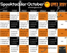 Spooktacluar October Upper Body {a monthly workout calendar} Fitness Tips, Fitness Motivation, Body Fitness, Fitness Challenges, Exercise Challenges, Fitness Fun, Fitness Planner, Fitness Weightloss, Health Fitness