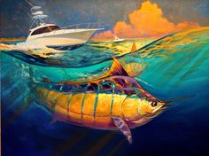 "Blue Marlin Fish & Yacht Art by renowned Contemporary Sporting Marine & Fly Fishing artist Savlen, titled ""Cabo 44 Express""."