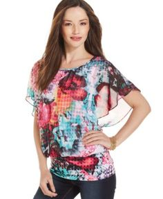 Style&co. Butterfly-Sleeve Printed Top