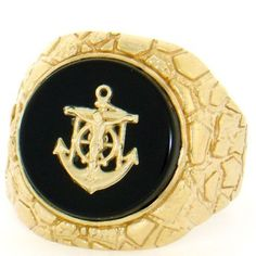 14k Solid Yellow Gold Nugget Anchor Oval Onyx Mens Ring Jewelry Liquidation. $419.20. Made with Real 14k Gold. Comes with FREE fancy black leatherette ring box!. Made in USA!. Save 54%!